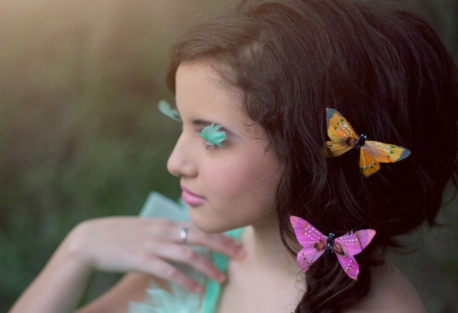 spring fashion photography for models, girl with butterflies in her hair