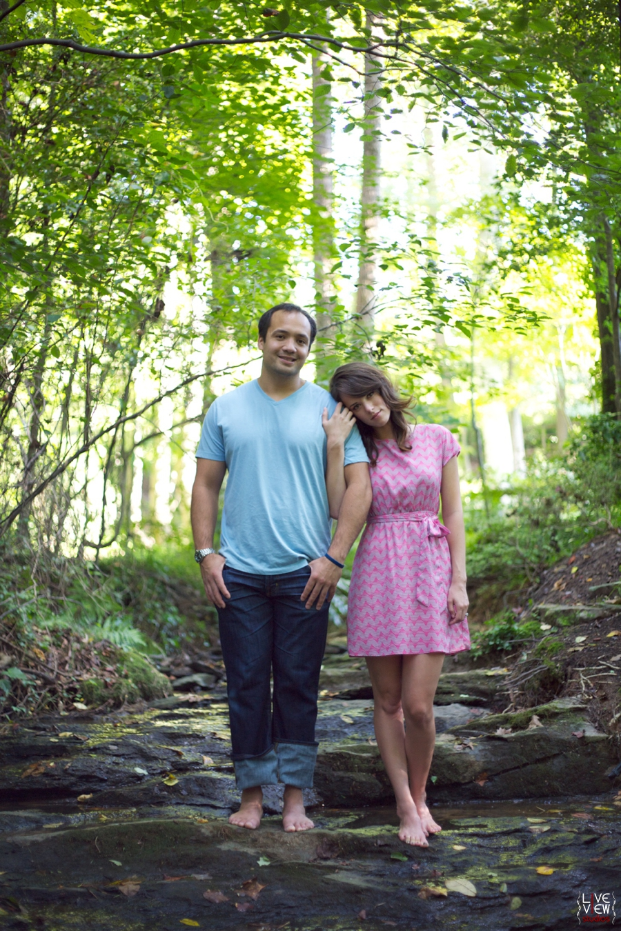 engagement photos near waterfall, winston salem nc