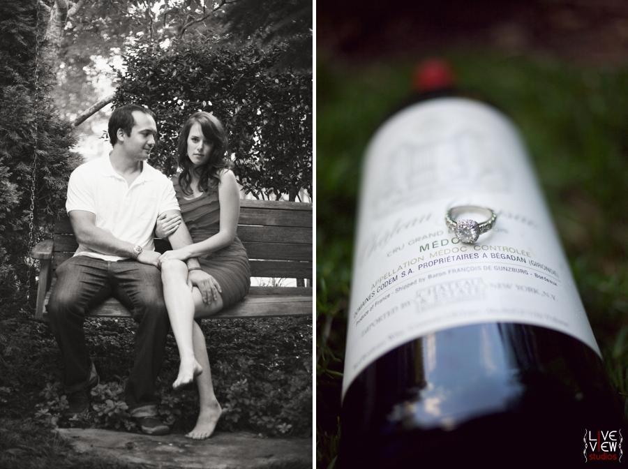 winston salem nc engagement, engagement ring on wine bottle