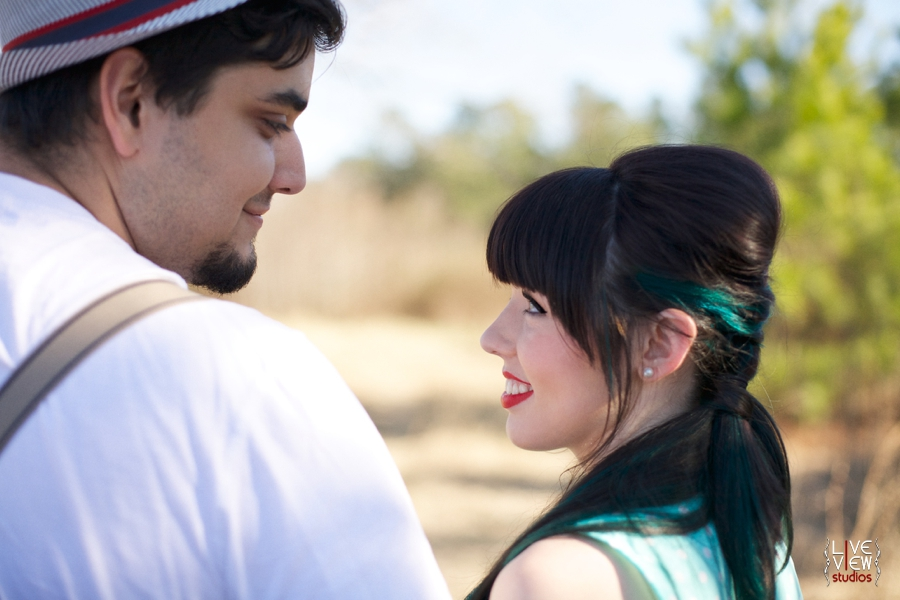 modern vintage engagement photography, woman with a blue streak in her hair