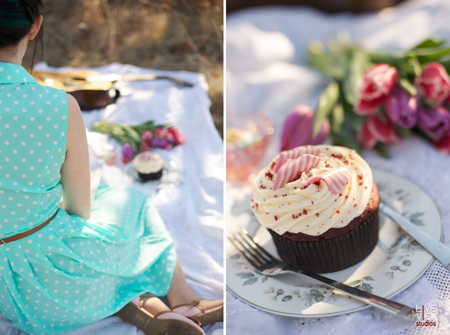 romantic valentine's day picnic, red velvet cupcake covered in creamy icing and peppermint curls