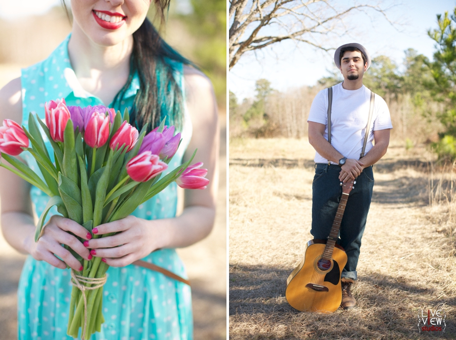 woman holding a bright bouquet of pink and purple tulips, romantic lumineers inspired engagement