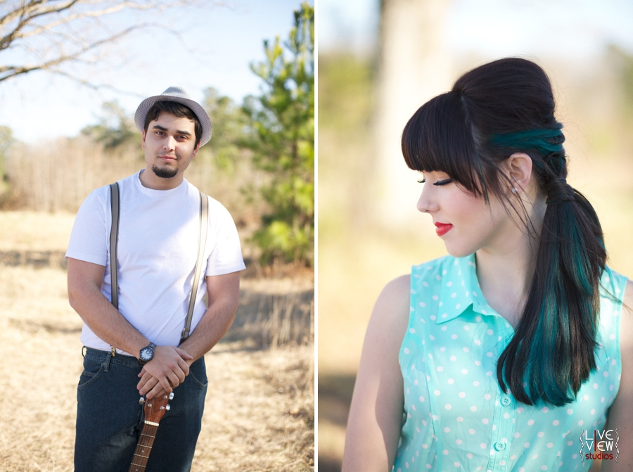 retro inspired portrait photography, music inspired engagement shoots