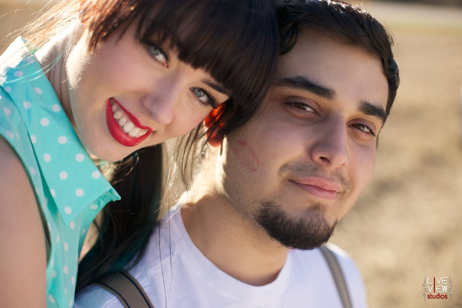 red lipstick kiss, romantic couple's photography