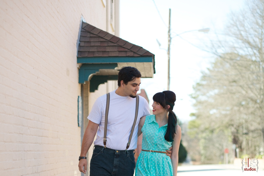 young lovers walk through town, retro inspired couple's photography