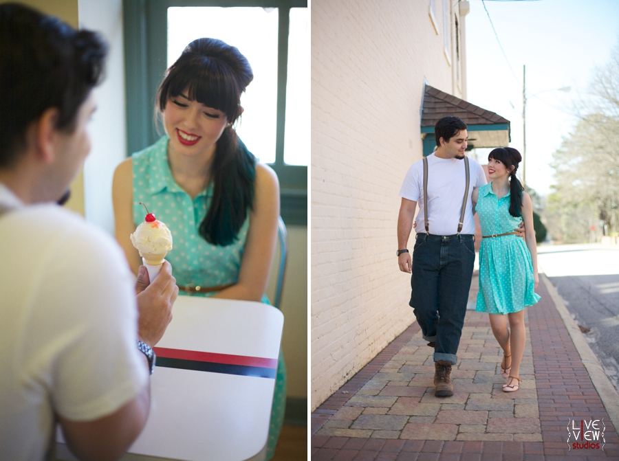 a young couple share an ice cream cone with a cherry on top, retro engagement photography