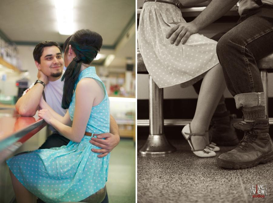 romantic valentine's day couple's photography, retro engagement photographers