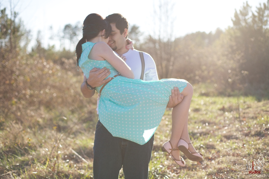 romantic retro inspired engagement shoot, cute poses for young couples