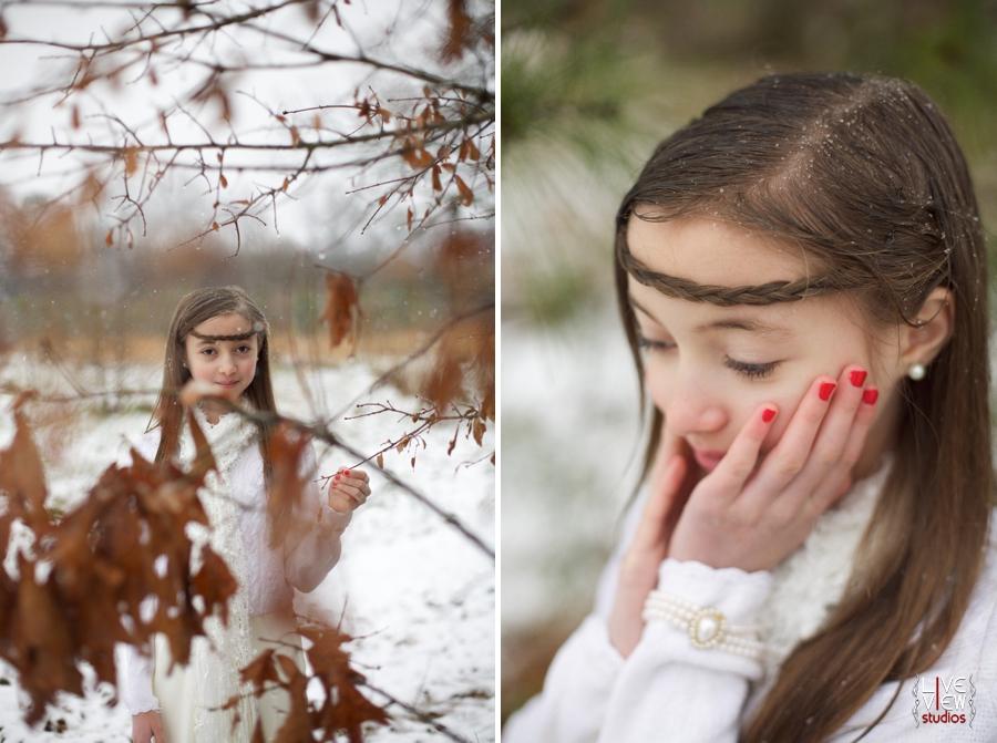 north carolina winter photography, young girl enjoying snow
