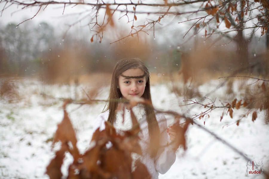 ethereal snow princess theme for children's portraits, outdoor winter children's photography