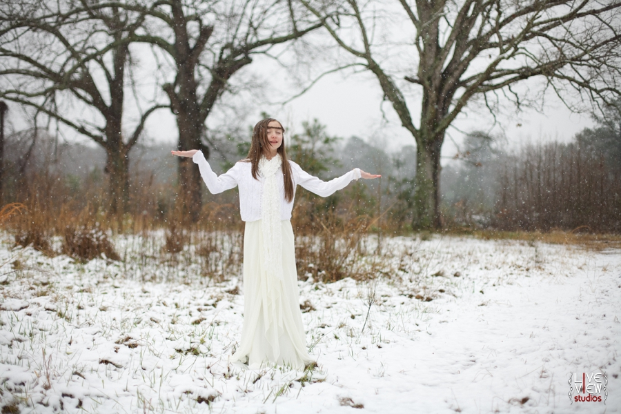 ethereal snow princess theme, children's outdoor winter portraits