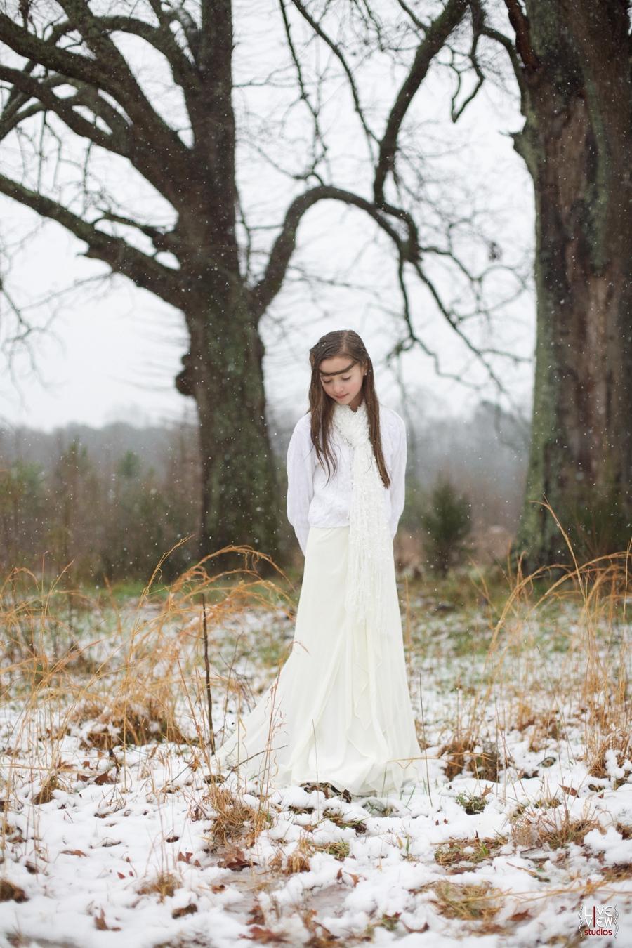 beautiful snow princess theme, raleigh nc children's outdoor portrait photographers