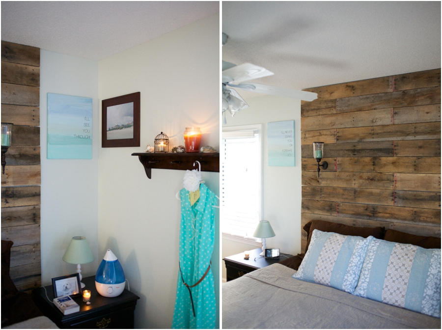 relaxing beach cottage inspired bedroom with dark wood accents and diy rustic wood pallet hardboard