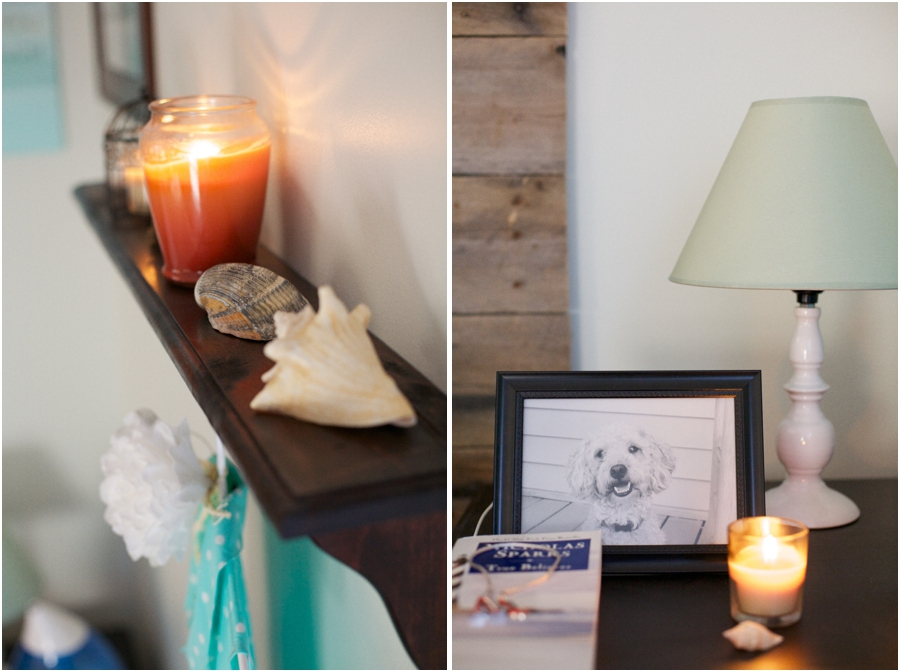 candles and seashells decorate small shelf in beach bedroom makeover, picture of pet poodle on dark wood bedside table, relaxing bedroom designs