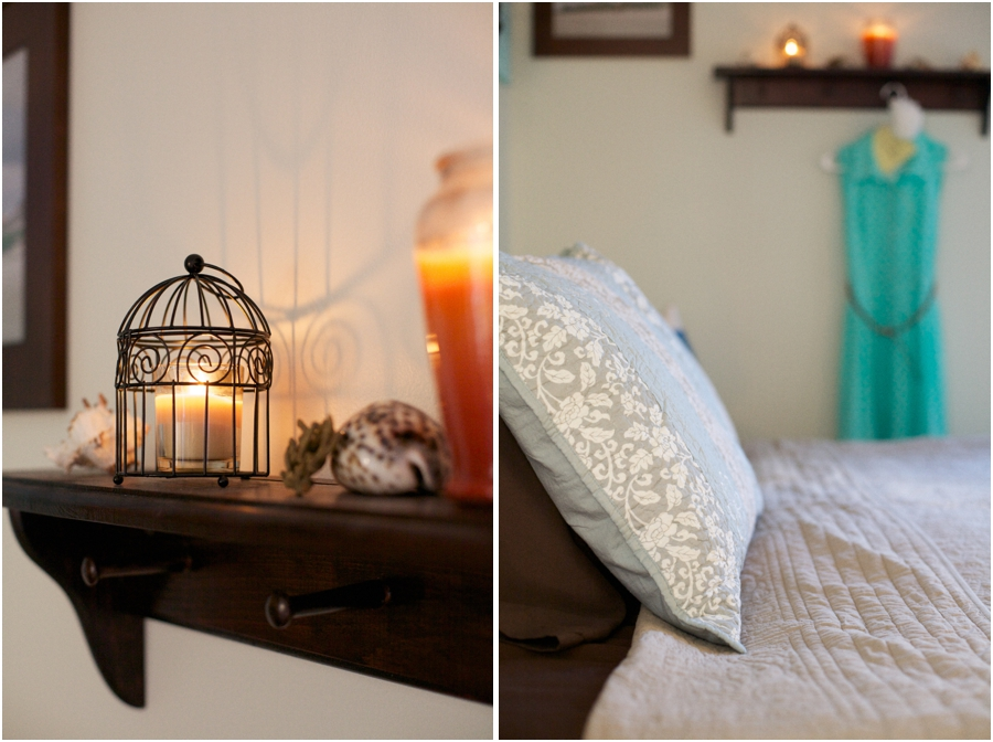 wire birdcage candle holder, rustic beach cottage bedroom theme, relaxing bedroom color palettes