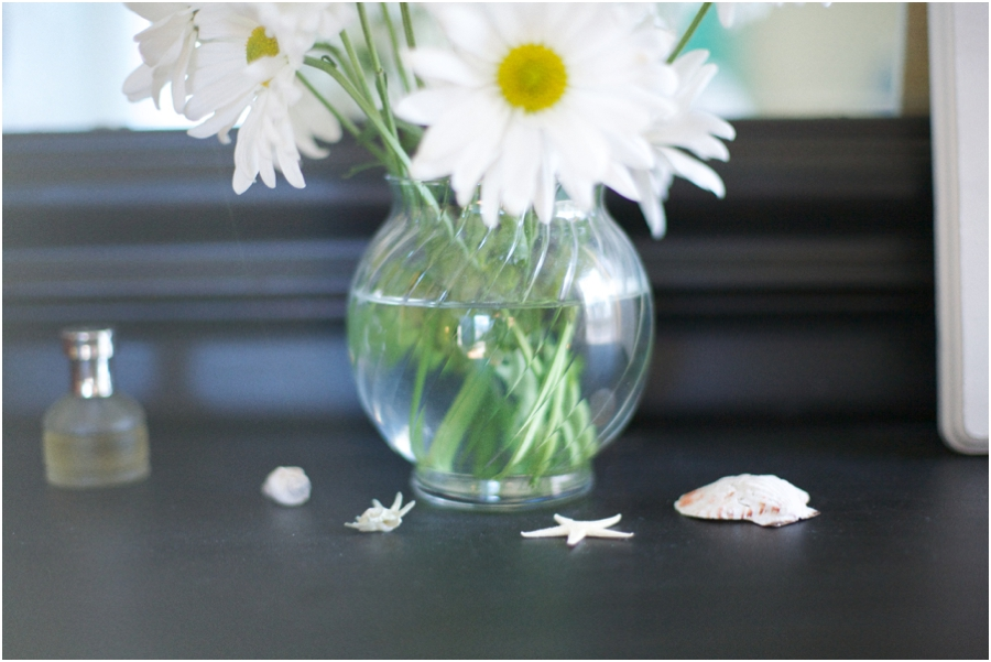 fresh flowers and little seashells make for simple and affordable decor on vintage dresser, simple interior decorating ideas