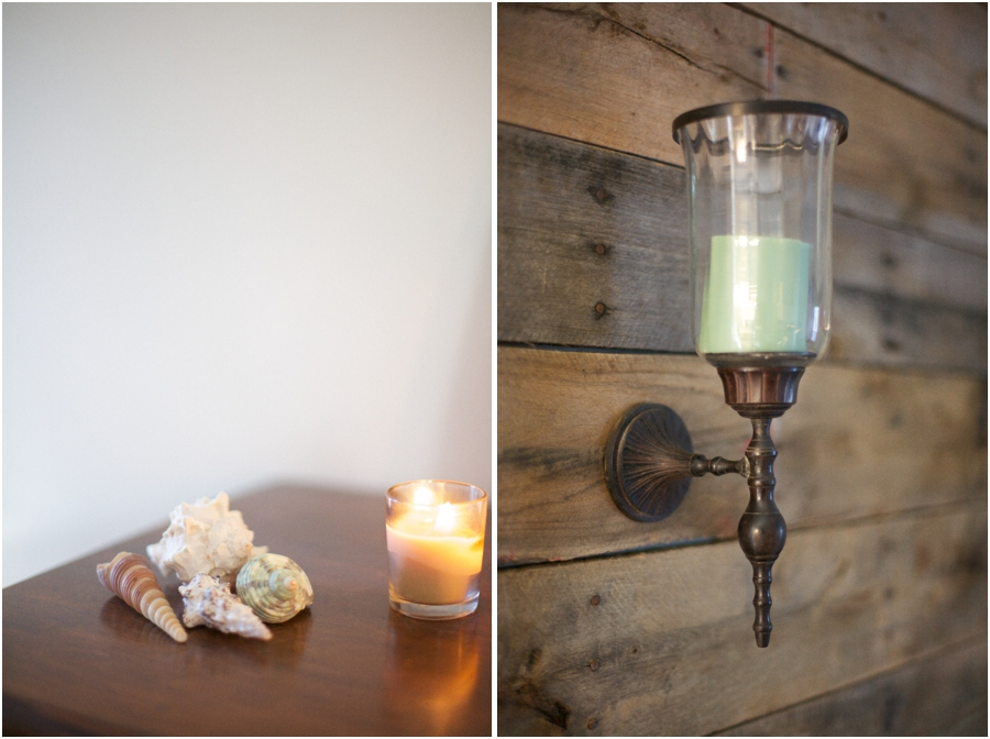 relaxing beach cottage inspired bedroom with dark wood accents, candle holder secured on diy pallet headboard