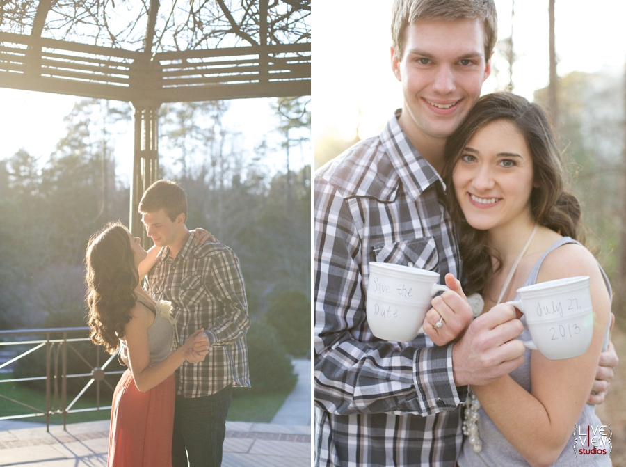 romantic garden engagement photography, cute save the date ideas