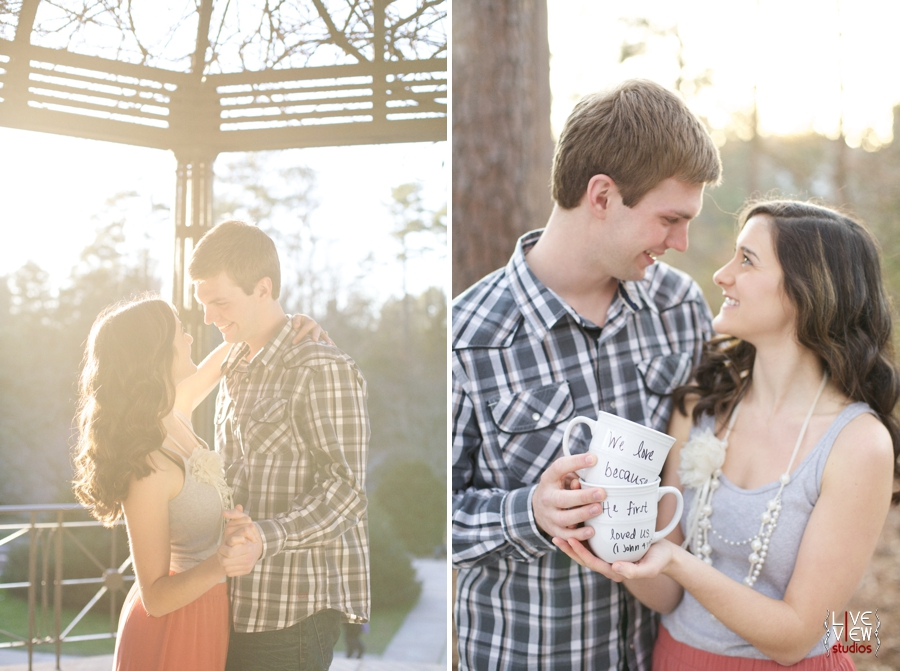 romantic garden engagement photography, couple holding coffee mugs with bible verses from 1 John 4:19
