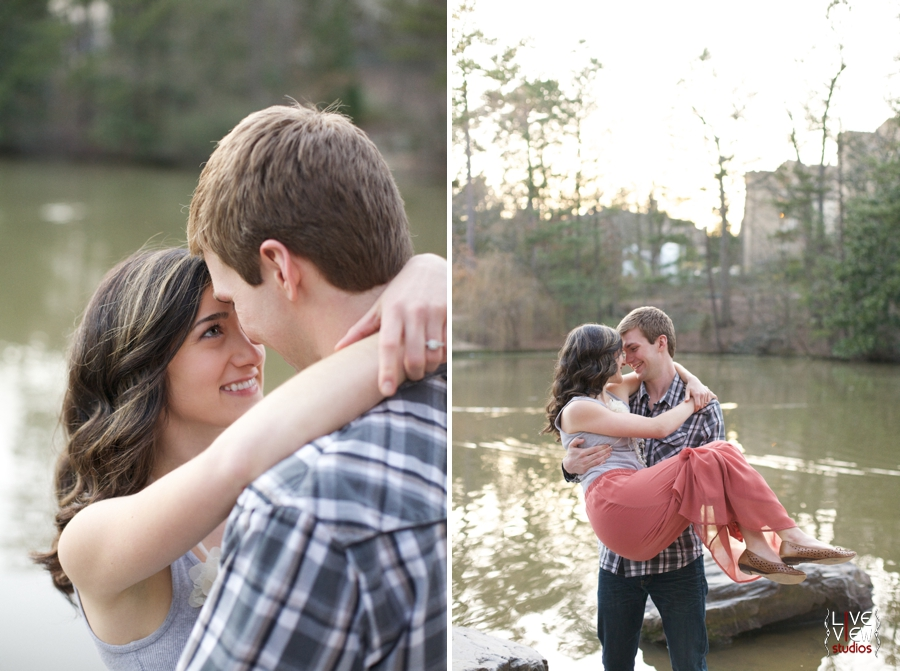 southern engagement photographers, raleigh nc, romantic waterside engagement