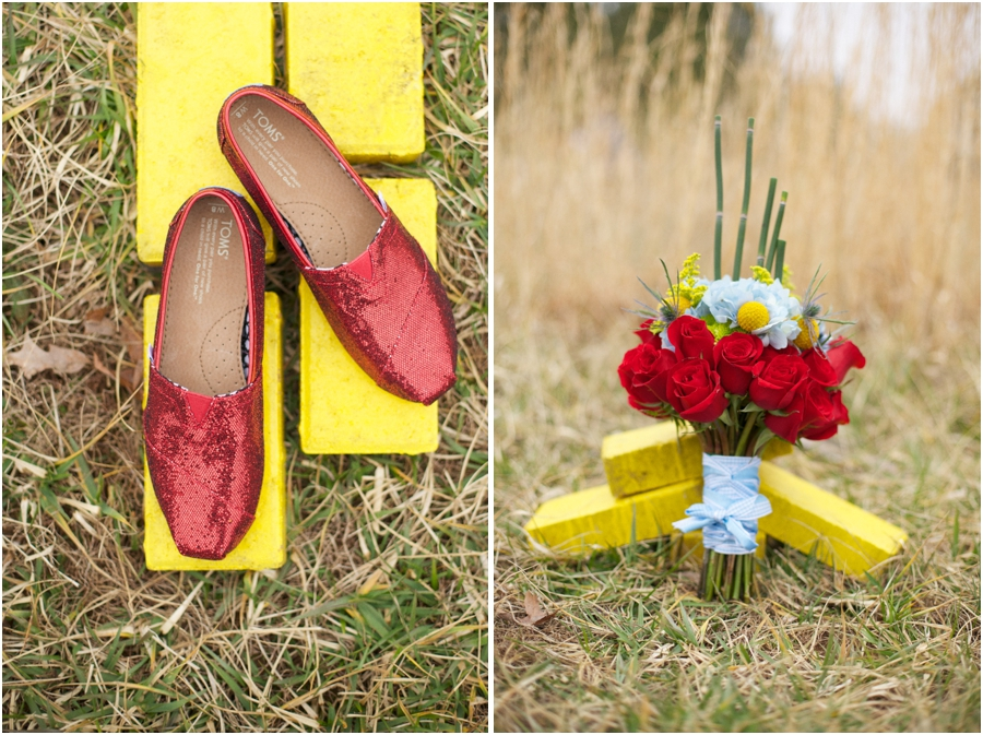 red sequined toms on yellow bricks, wizard of oz wedding ideas