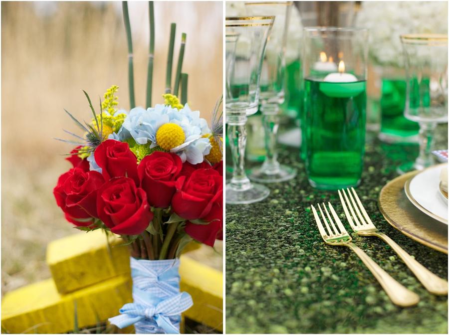 bright wedding colors, wizard of oz themed bridal bouquet, emerald reception table decor