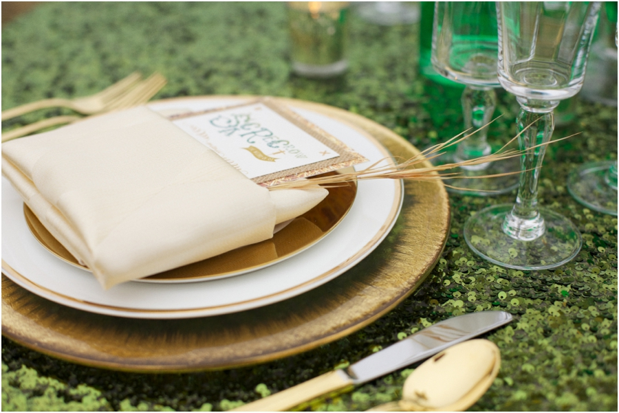 gold and emerald reception table setting, eclectic wedding photography