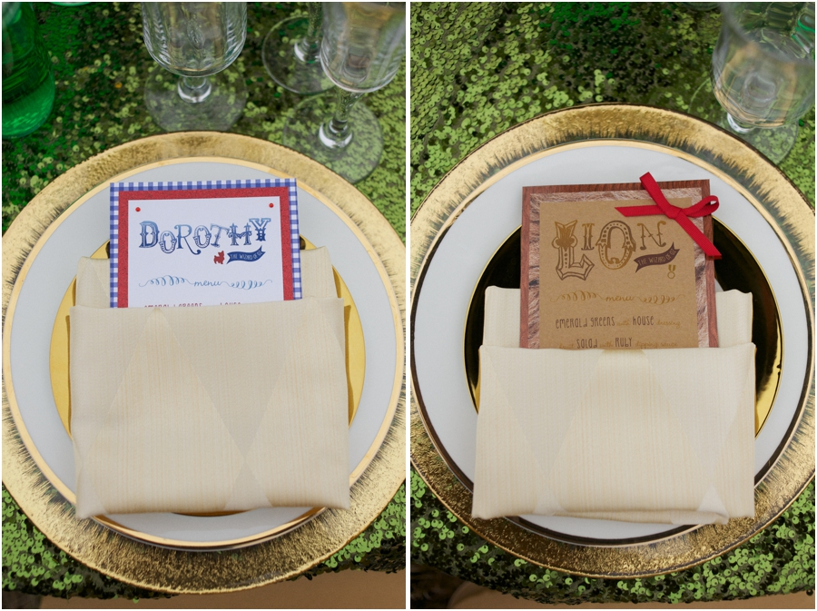 oz the great and powerful inspired wedding photography, emerald tablecloths and gold rimmed plates