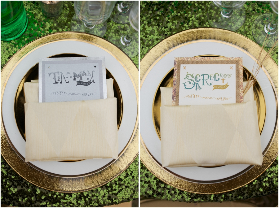 tin man and scare crow reception place settings, emerald city inspired wedding photography