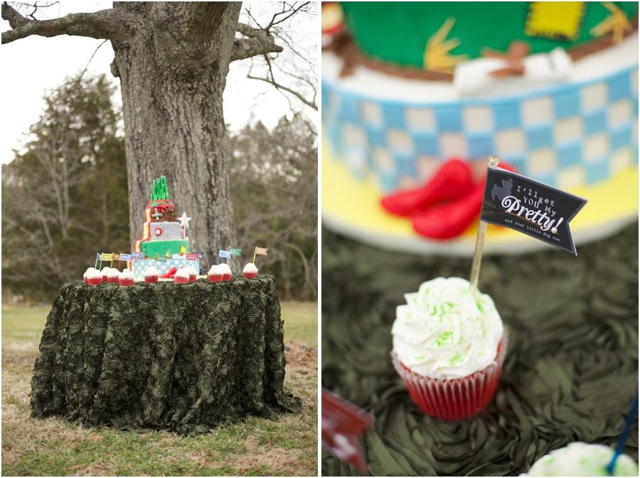 wizard of oz inspired wedding cake on textured emerald tablecloth, modern wedding reception ideas