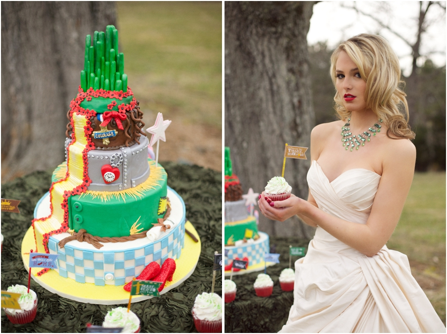 wizard of oz inspired wedding cake, red lipstick bride