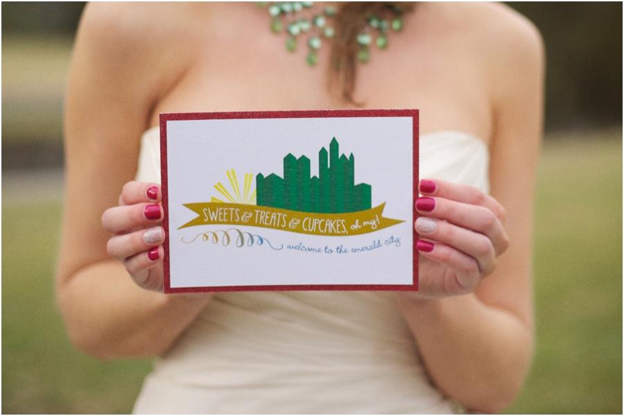 emerald city inspired invitations, alternative wedding photography