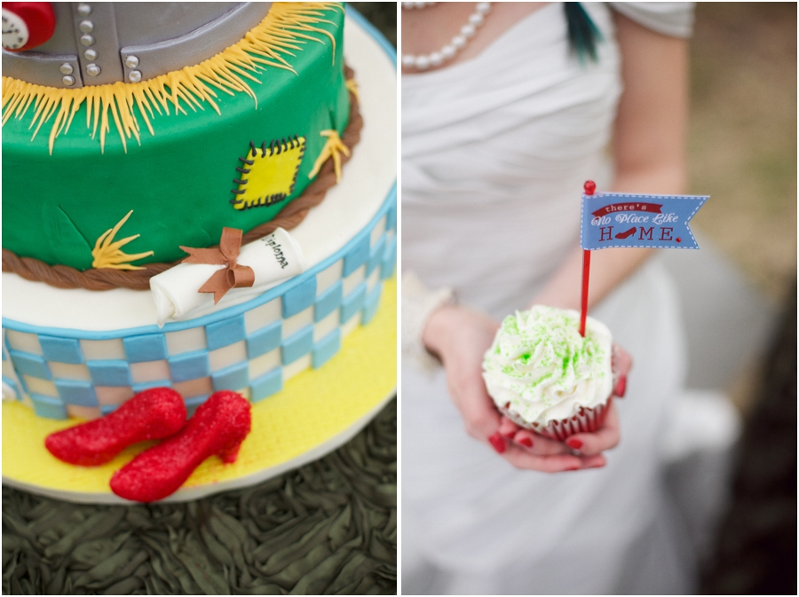 amazing details on wizard of oz inspired wedding cake made by edible art, bright wedding colors