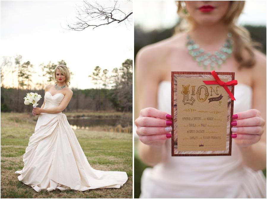 bride with red lipstick, oz-inspired reception menus
