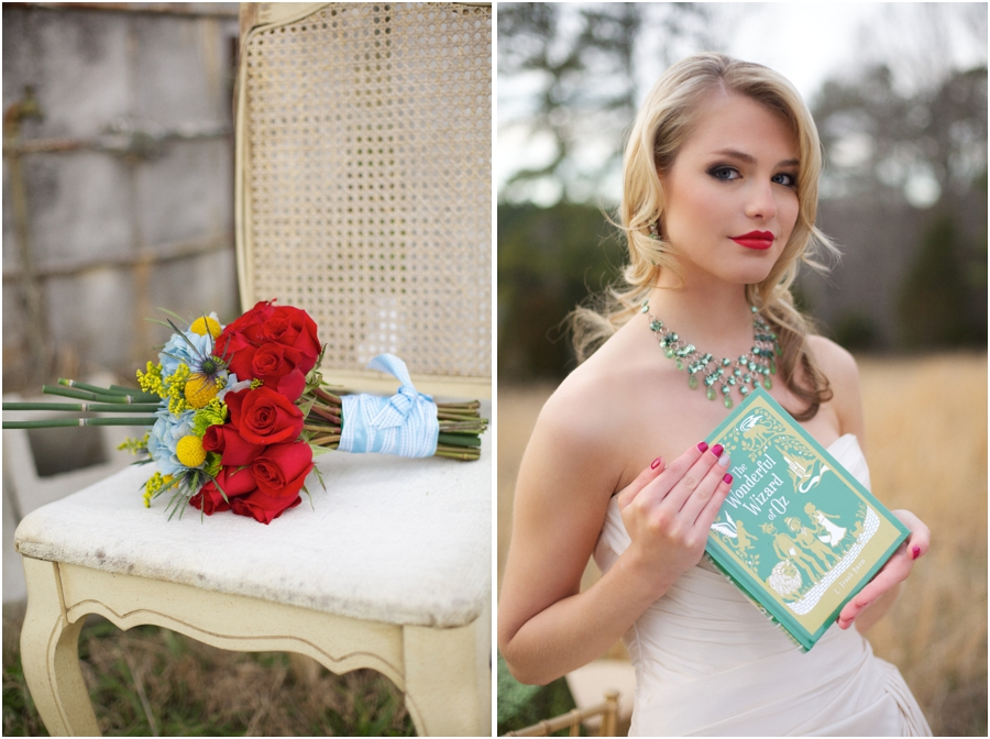 """oz-inspired bridal bouquet, southern wedding photography, bride holding """"the wonderful wizard of oz"""" book"""