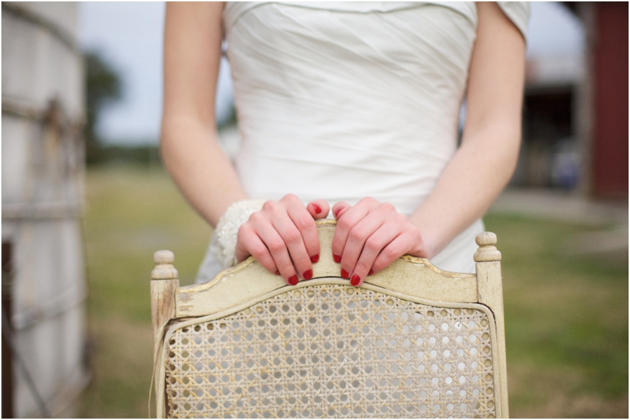 bride with red nails, rustic wedding photography, raleigh nc