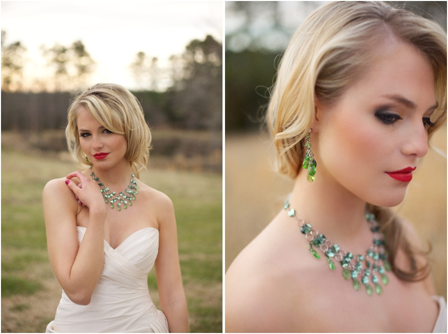 beautiful emerald statement wedding jewelry from Aubre's Bridal, country bridal makeup