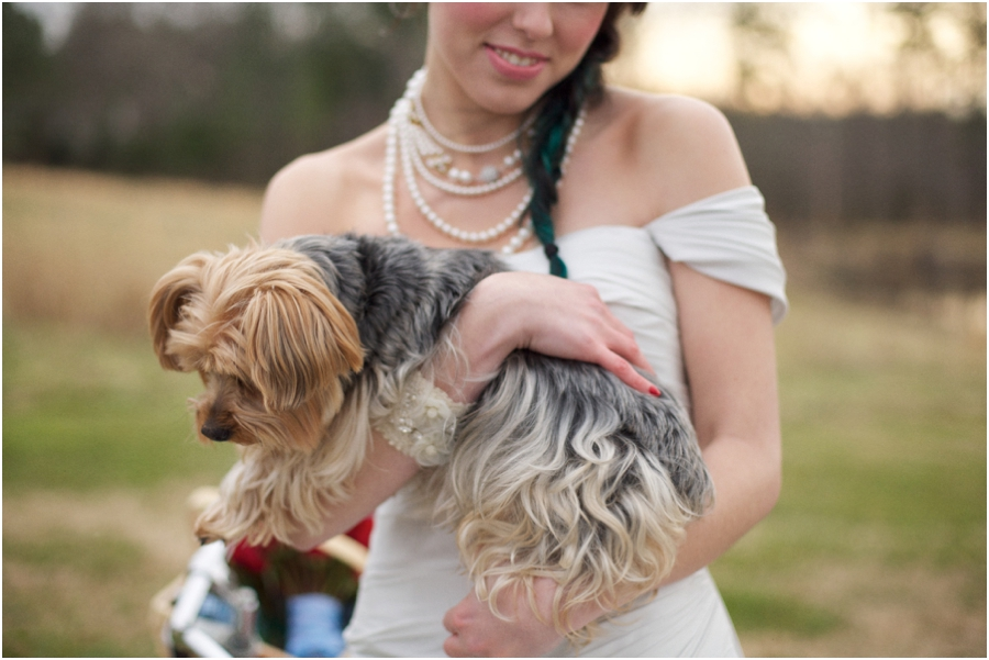 weddings with pets, bride holding her pet dog, rustic wedding photography, raleigh nc