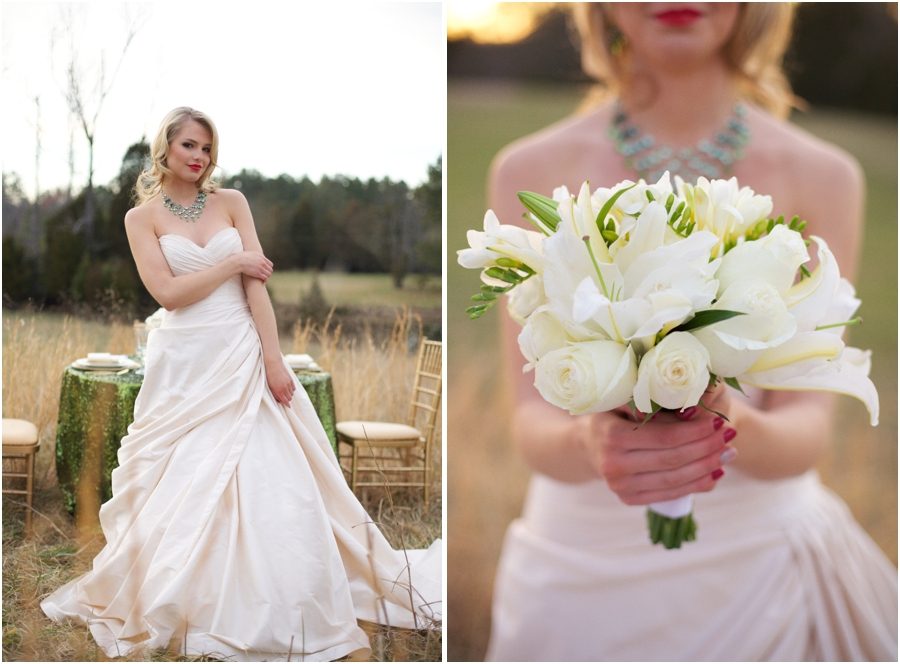beautiful strapless wedding dresses, country bridal portraits, white and cream bridal bouquet