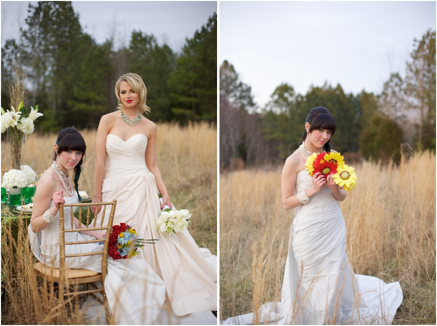 romona keveza couture wedding gowns, country bridal portraits
