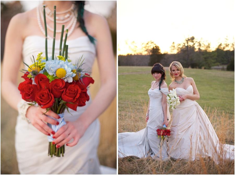 oz-inspired bridal bouquets, romona keveza couture wedding dresses