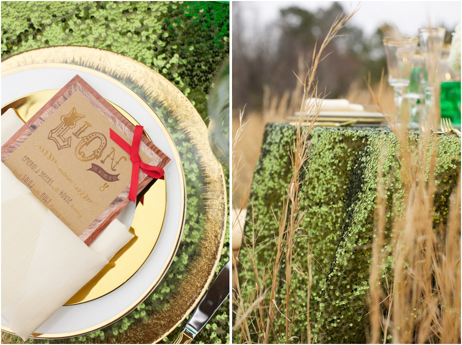 emerald city reception theme, emerald sequin table cloth and gold rimmed plates
