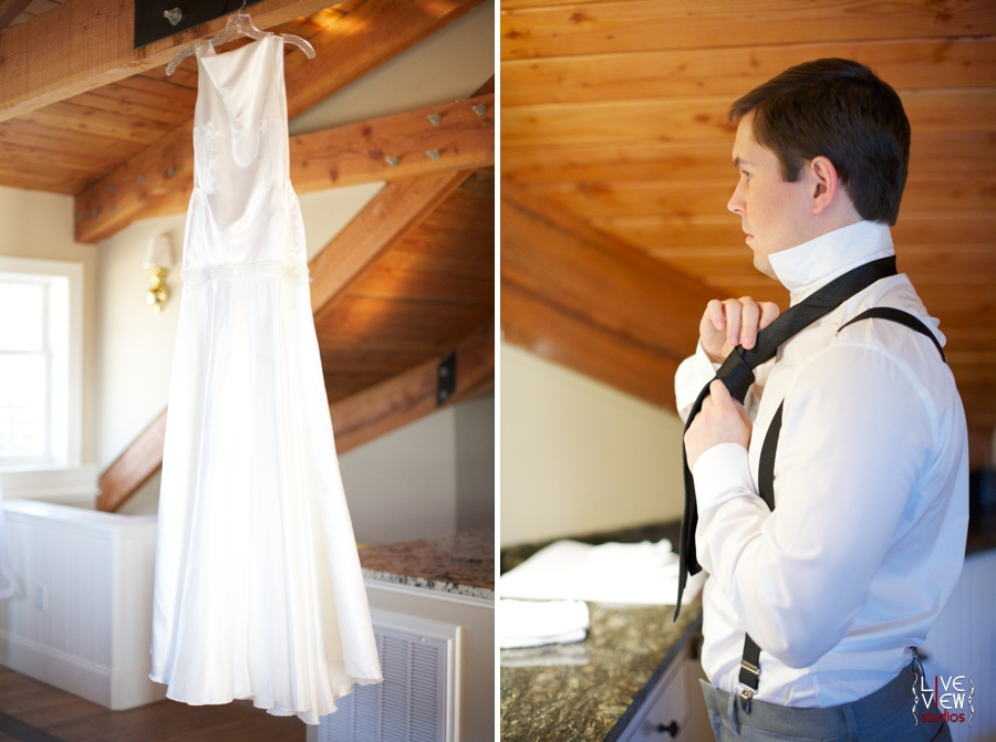 vintage inspired wedding gown from edie kay, groom fixing his tie, raleigh nc wedding photographers