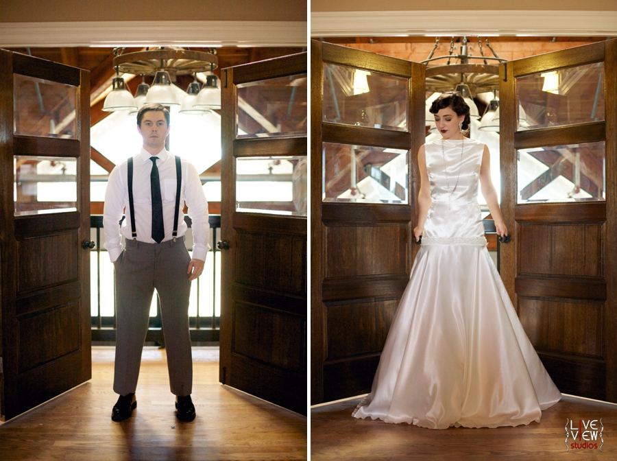 20's inspired wedding photography, bride and groom's portraits