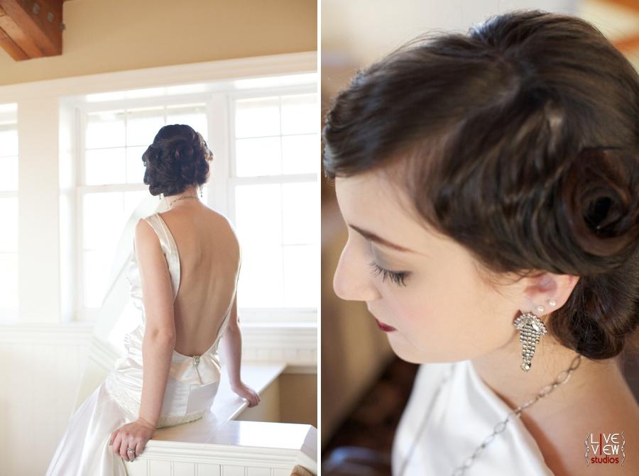 20's inspired wedding gown by edie kay, beautiful rhinestone earrings by oh so curio