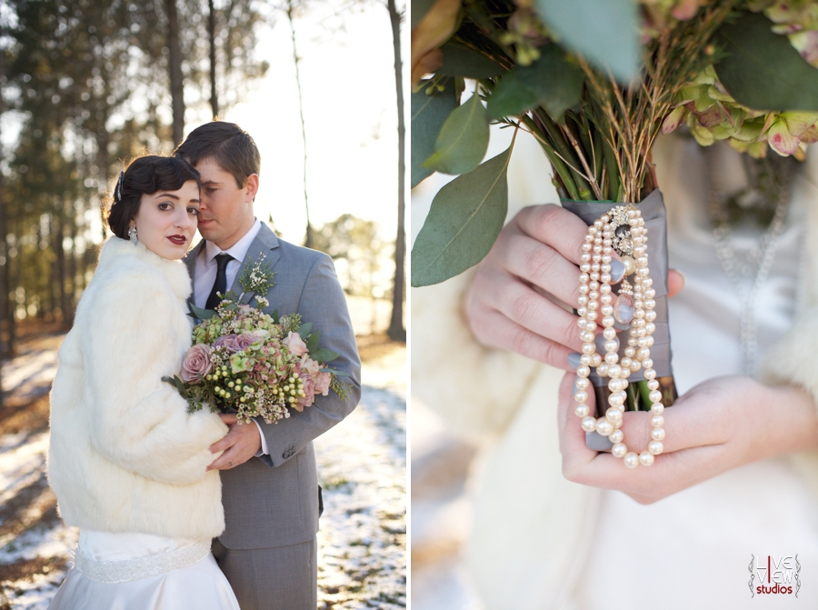 winter wedding photography, beautiful pearl bouquet handle