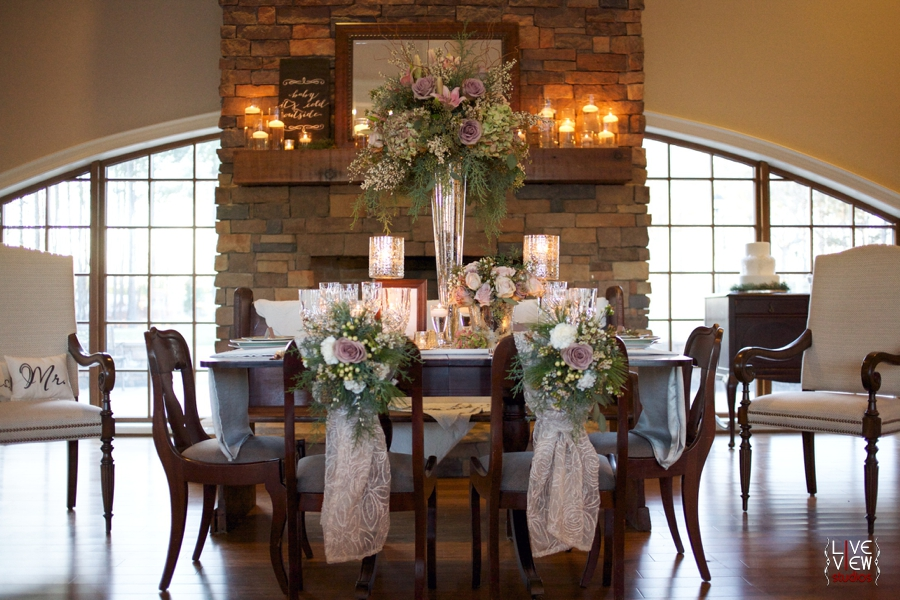 beautiful fresh floral centerpiece by embellished blooms, winter wedding photography