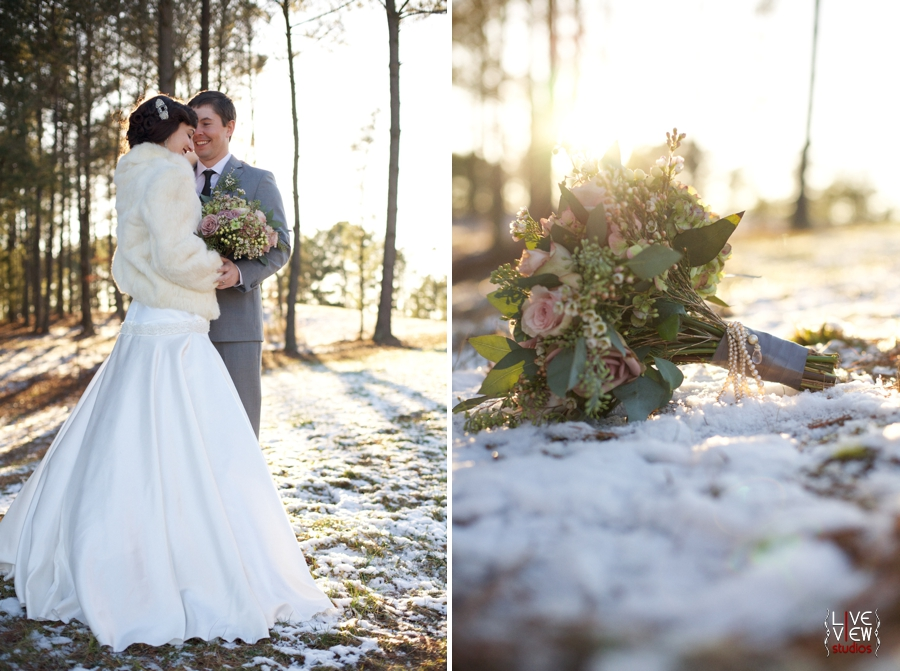 winter wedding photography, blush pink bridal bouquet with pearl accents
