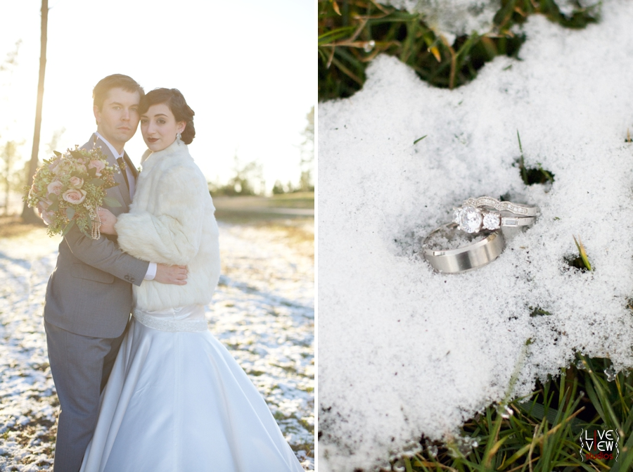 20's winter wedding inspiration, unique ring shots, wedding rings in the snow, raleigh nc wedding photographers