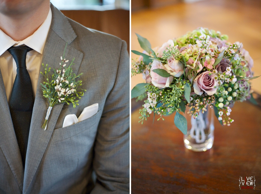 groom wearing winter themed organic boutonniere, fresh floral bridal bouquet
